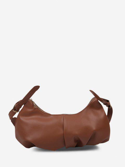 ladies Soft Draped Buckle Strap Solid Shoulder Bag - DEEP BROWN  Mobile