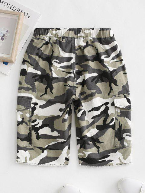 shops Drawstring Camo Raw Hem Cargo Bermuda Shorts - GREEN XL Mobile
