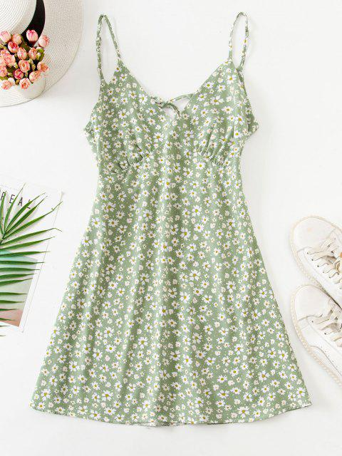 Mini Robe Fleurie Nouée Au Dos à Bretelle - Vert clair XL Mobile