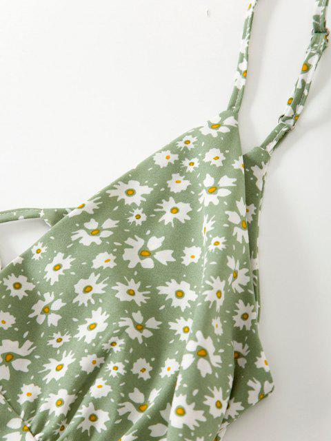 unique Cami Ditsy Floral Tie Back Mini Dress - LIGHT GREEN M Mobile
