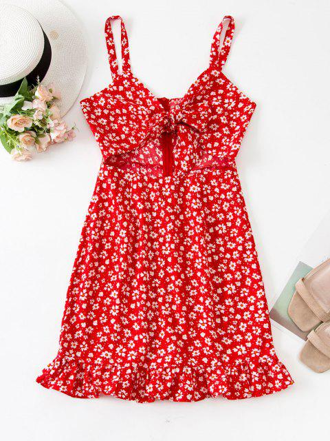 ladies Tie Front Tiny Floral Cut Out Mini Dress - RED L Mobile
