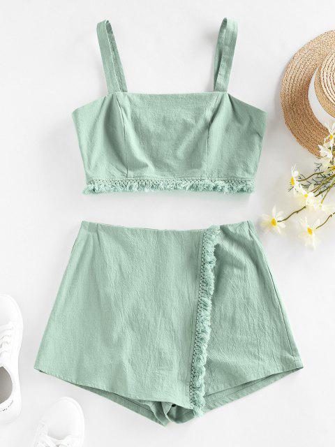 trendy ZAFUL Frayed Back Zip Overlap Shorts Set - LIGHT GREEN S Mobile