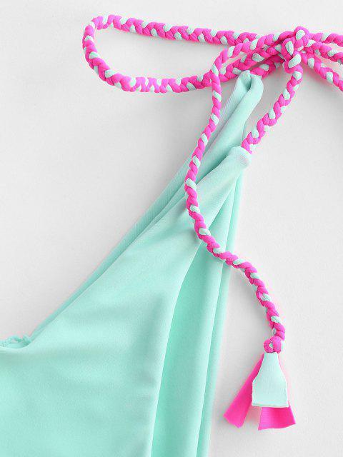 ZAFUL Bikini con Lacci Intrecciati con Ferretto a V - Acquamarina Leggera S Mobile