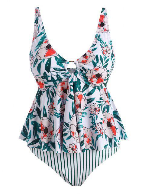ZAFUL Plus Size Flower Striped O Ring Peplum Tankini Swimwear - أخضر XXL Mobile