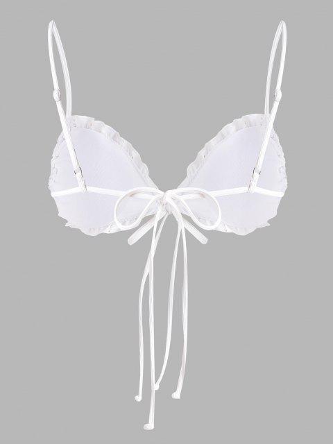 ZAFUL mangas compridas Frente Gravata Gravata Tingida para Banquete , Casamento - Branco XXL Mobile