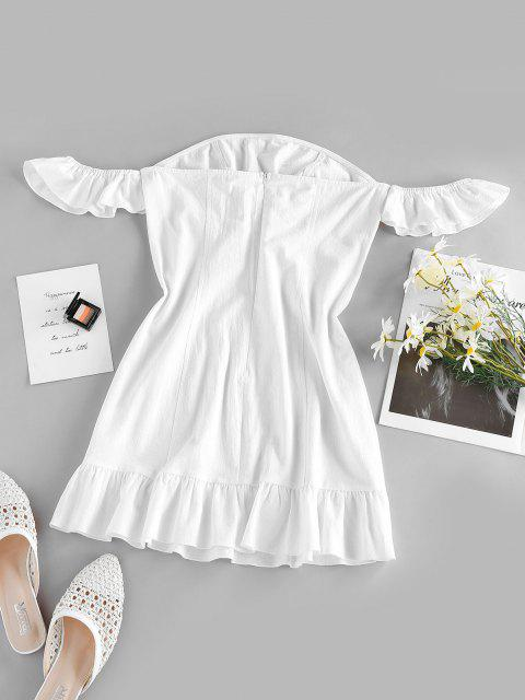 ZAFUL Off Shoulder Flounce Seam Detail Dress - أبيض XL Mobile