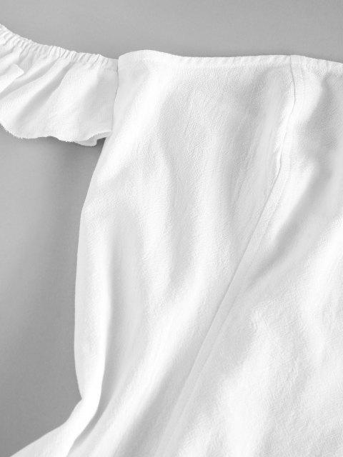 new ZAFUL Off Shoulder Flounce Seam Detail Dress - WHITE XL Mobile