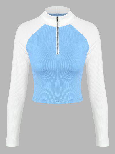 ZAFUL Ribbed Colorblock Raglan Sleeve Half Zip T Shirt - Multi-a S