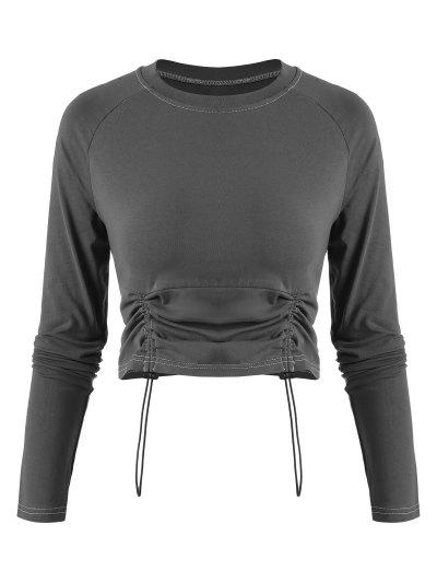 Kordelzug Vorder Kontrast Nähte Zugeschnitter T-Shirt - Dunkelgrau L