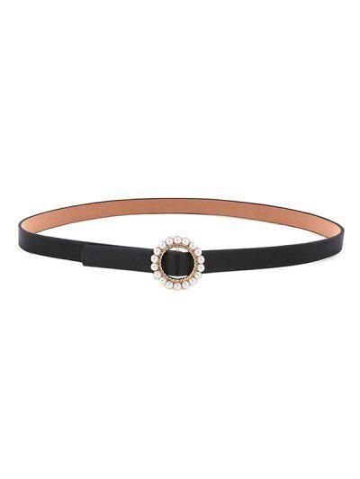 Round Faux Pearl Inlaid Buckle Waist Belt - Black
