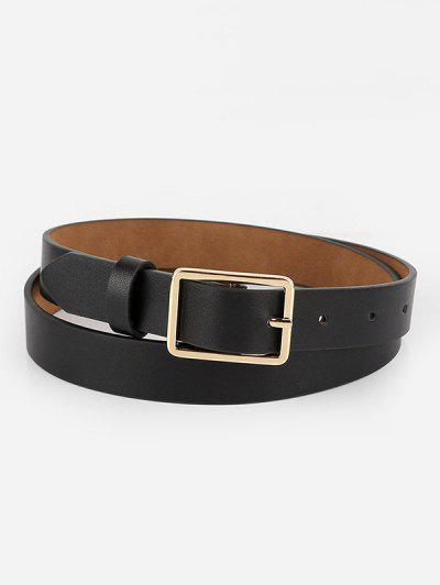 Brief Square Pin Buckle Belt - Black