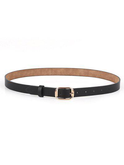Polished Metallic Sleek Rectangle Buckle Belt - Black