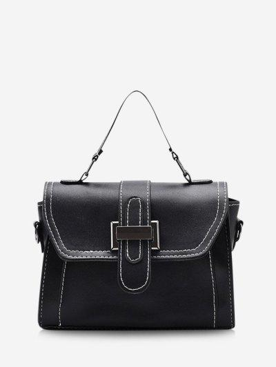 Retro Contrast Stitching Crossbody Bag - Black