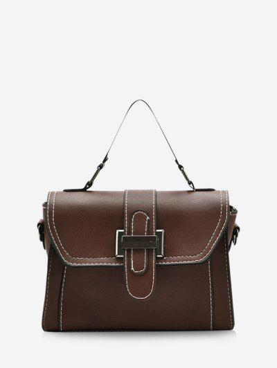 Retro Contrast Stitching Crossbody Bag - Brown
