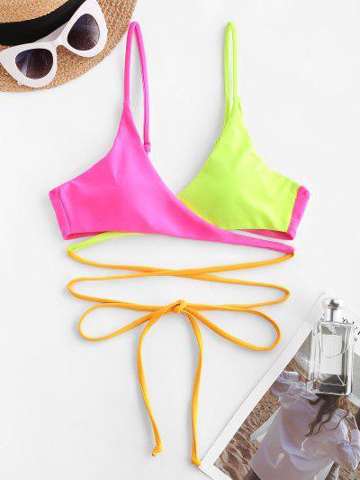 ZAFUL Haut De Bikini Croisé Enveloppé En Blocs De Couleurs - Rouge S