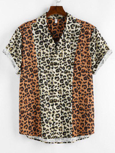 ZAFUL Contrast Leopard Print Short Sleeve Shirt - Light Coffee L
