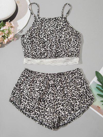 Leopard Lace Saum Pyjamas - Schwarz S