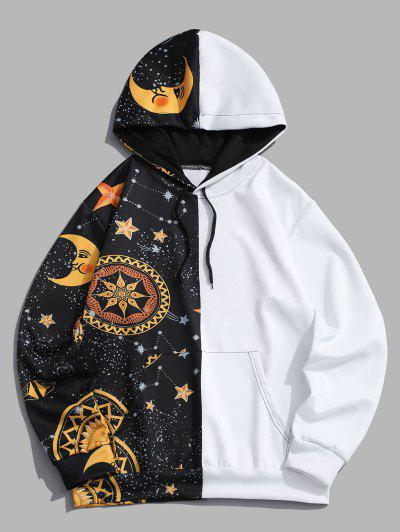 Kangaroo Pocket Moon Star Print Contrast Hoodie - Yellow Xl