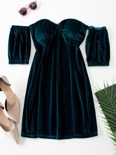 Sweetheart Off Shoulder Velvet Slinky Bodycon Dress - Deep Green M