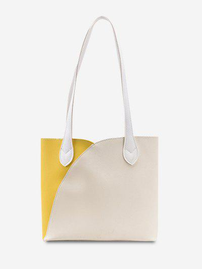 Splicing Work Tote Bag - Corn Yellow