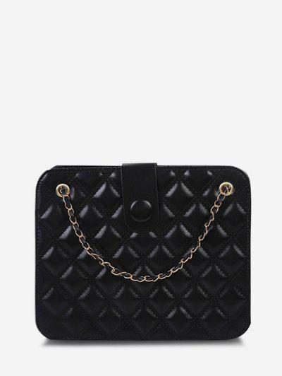 Quilted Chain-Trimmed Convertible Strap Square Shoulder Bag - Black