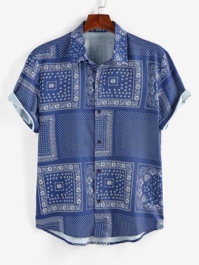 ZAFUL Scarf Print Short Sleeve Shirt - Blue Xl