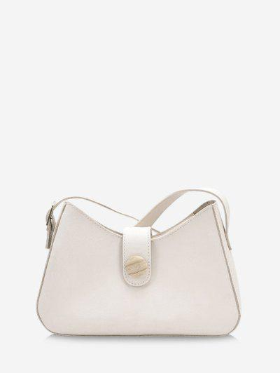 Button Embellished Shoulder Bag - Warm White