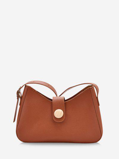 Button Embellished Shoulder Bag - Deep Brown