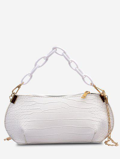 Textured Chains Handbag - Crystal Cream