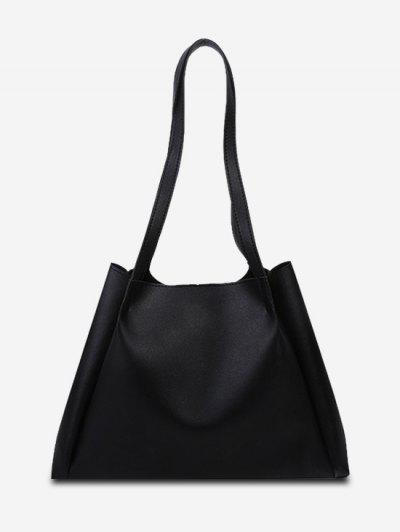Minimalistic Double Strap Shoulder Bag With Inner Pouch - Black