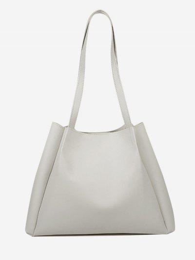 Minimalistic Double Strap Shoulder Bag With Inner Pouch - Crystal Cream