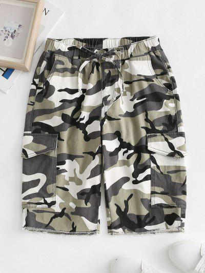 Drawstring Camo Raw Hem Cargo Bermuda Shorts - Green Xl