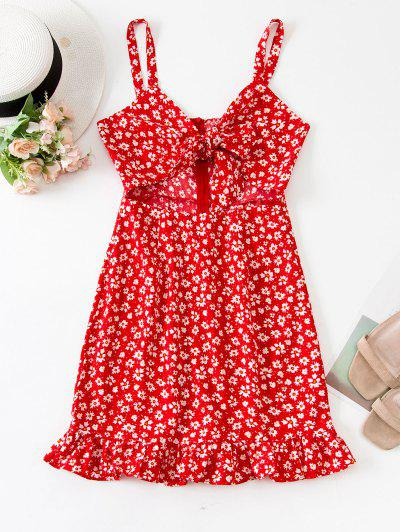 Tie Front Tiny Floral Cut Out Mini Dress - Red S