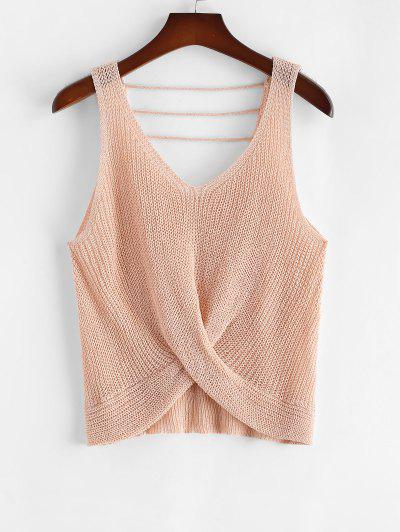 ZAFUL Plus Size Twist Front Strappy Sweater Vest - Light Pink 2xl
