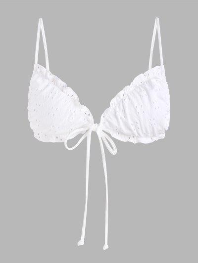 ZAFUL Plus Size Front Tie Broderie Anglaise Swim Top - White Xl