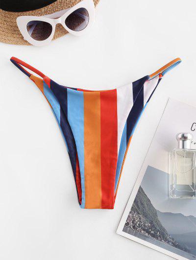ZAFUL Rainbow High Leg Tanga Bikini Bottom - Multi L