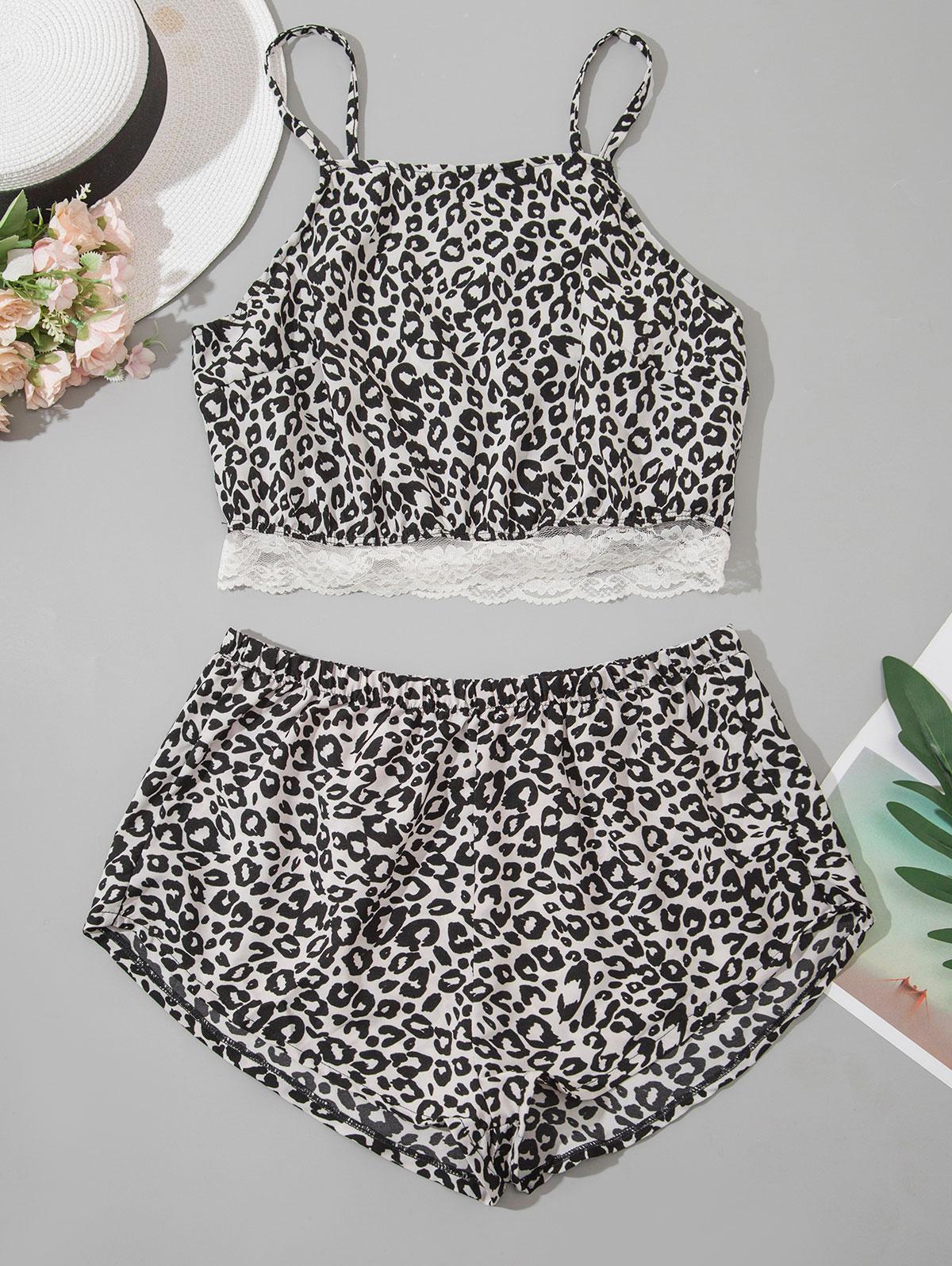 Leopard Lace Hem Pyjamas