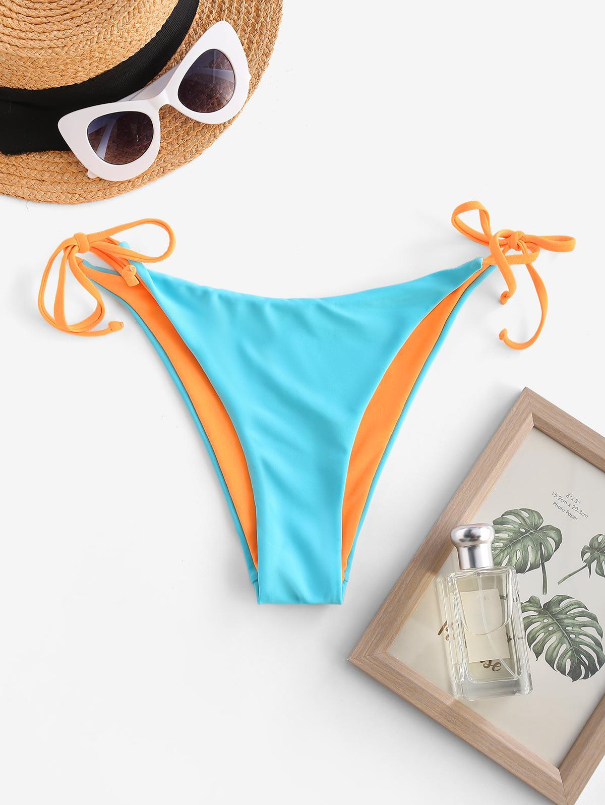 ZAFUL Two Tone Reversible String Bikini Bottom