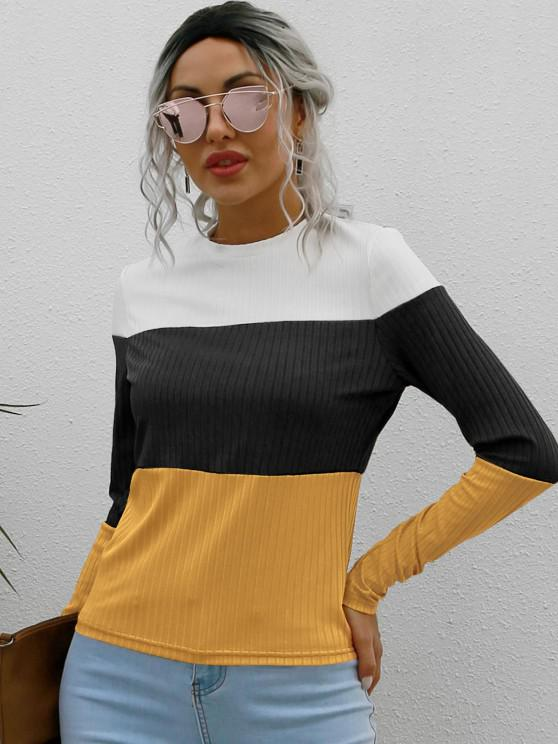 women Fitted Ribbed Colorblock Knitwear - WHITE M