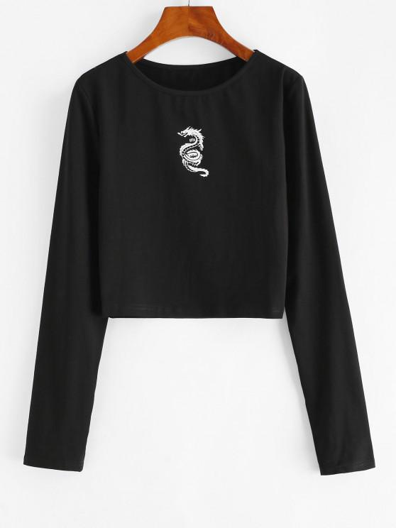 sale Chinese Dragon Print Long Sleeve Baby Tee - BLACK M