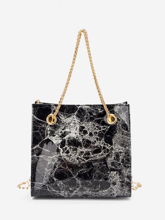ladies Marbling Pattern Square Chain Bag - BLACK
