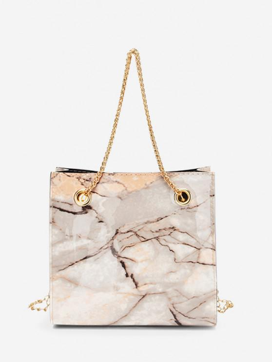 best Marbling Pattern Square Chain Bag - CAMEL BROWN