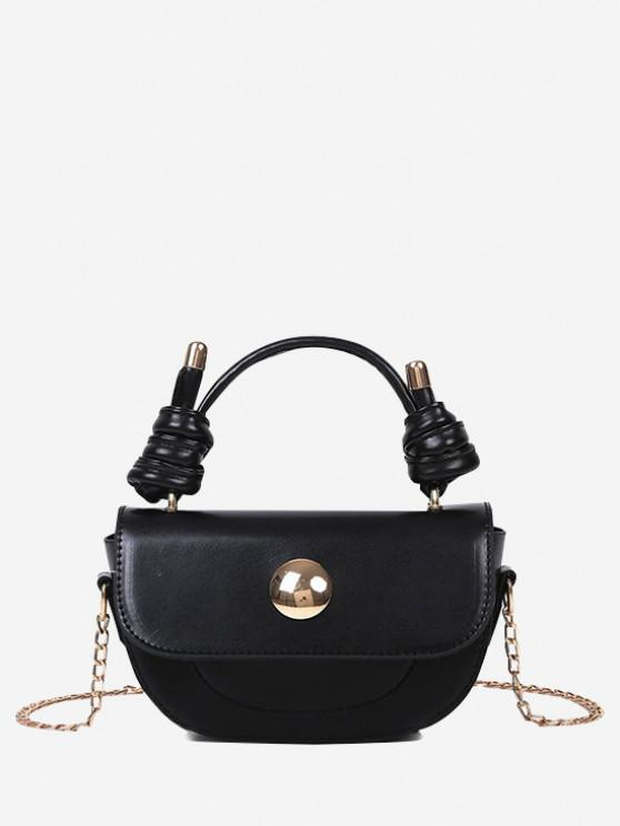 affordable Knotted Chain Saddle Bag - BLACK