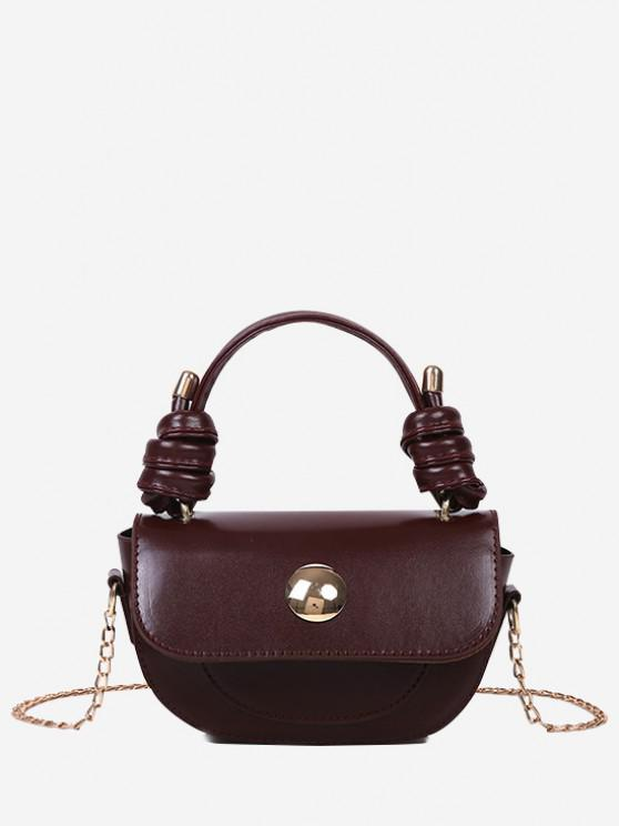 womens Knotted Chain Saddle Bag - DEEP BROWN