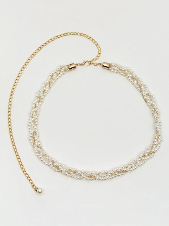 lady Faux Pearl Dress Waist Chain - MILK WHITE