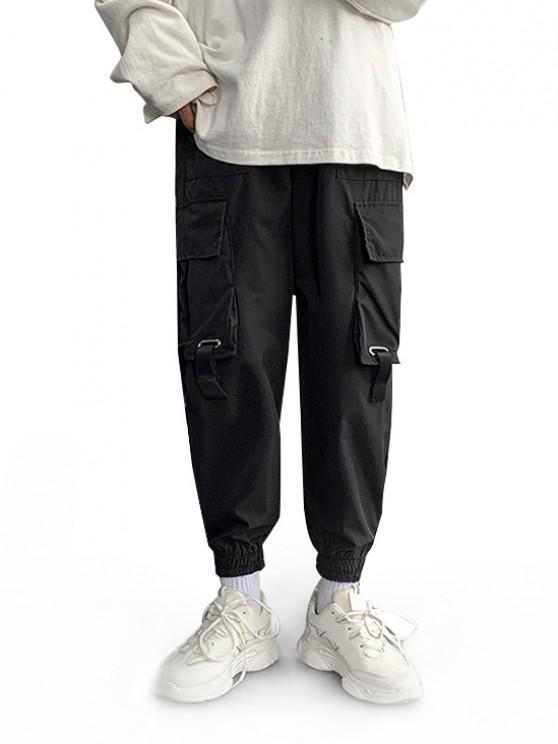 Multi-pocket Buckle Strap Cargo Pants - أسود S