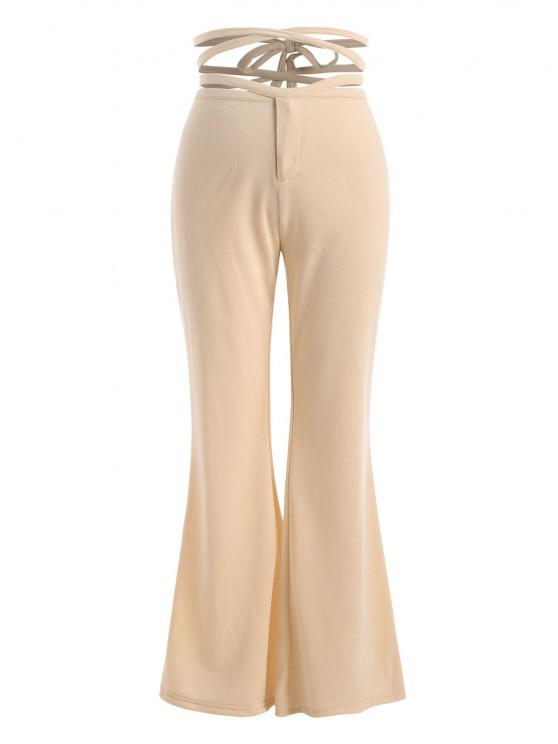 ladies Straps Cross Wrap High Waisted Flare Pants - LIGHT COFFEE L