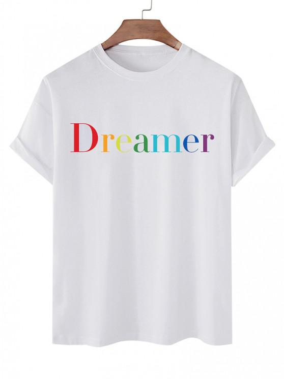 Dreamer Short Sleeve Basic T-shirt - أبيض XL