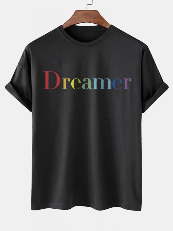 Dreamer Short Sleeve Basic T-shirt - أسود M