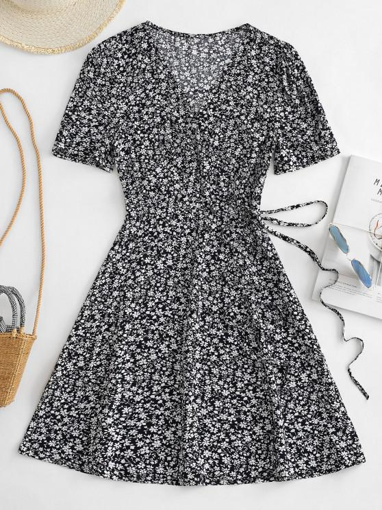Vestido Minúsculo Floral de Decote V - Azul Escuro S